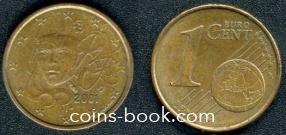 1 евроцент 2001