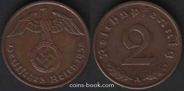 2 рейхспфеннига 1938