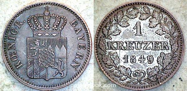 1 крейцер 1849