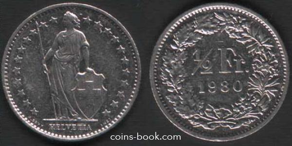 1/2 франка 1980