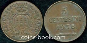 5 centesimi 1936