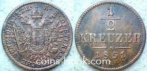 1/2 крейцера 1851